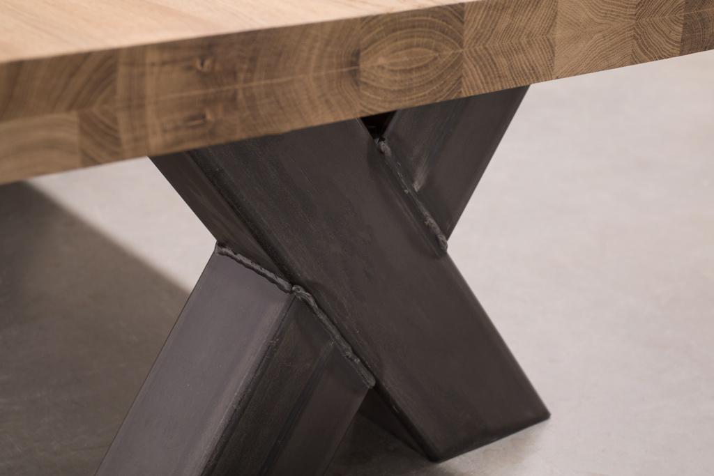 Industriële Salontafel Met Metalen X-Poot - Robuust Eiken