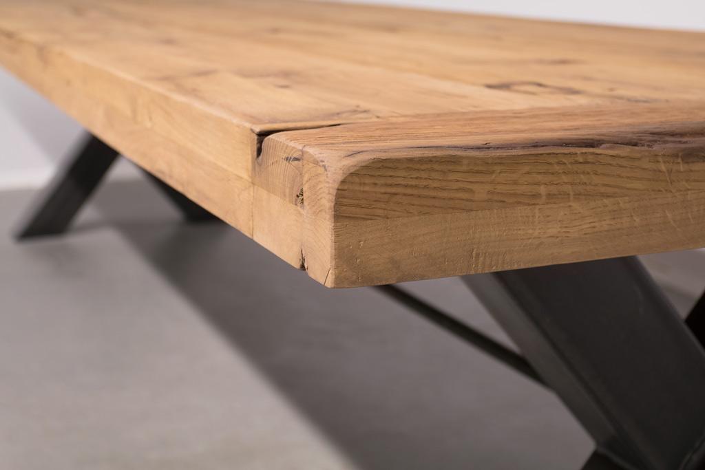 Industriële tafel met metalen X-poot met Trekstang - Oud Eiken