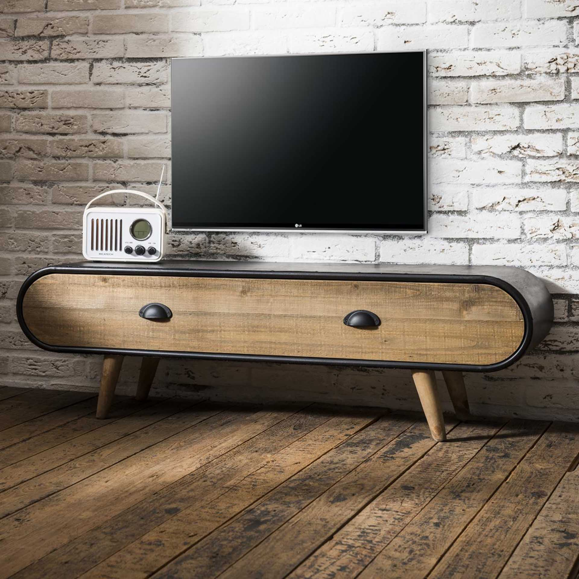 Industrieel tv meubel Trunk | 1 lade