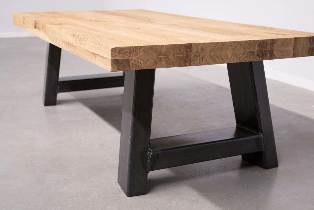 Industriële salontafel Met A-Poot - Robuust Eiken
