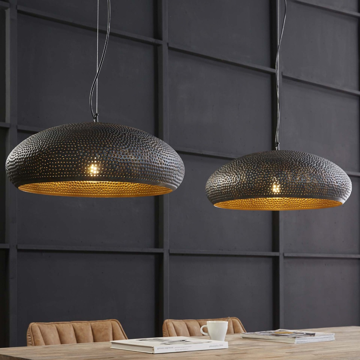 Industriële Hanglamp Bas | Basket rond | Antiek nikkel