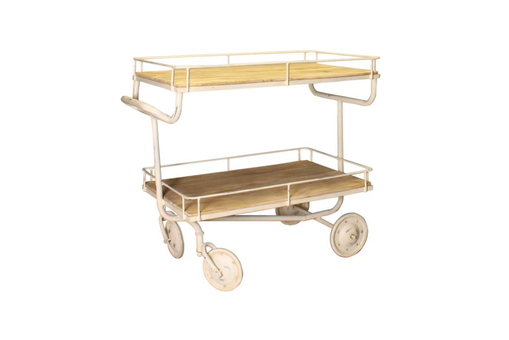 Industriële trolley met 2 houten legplanken - Metaal met hout - Art. A102W