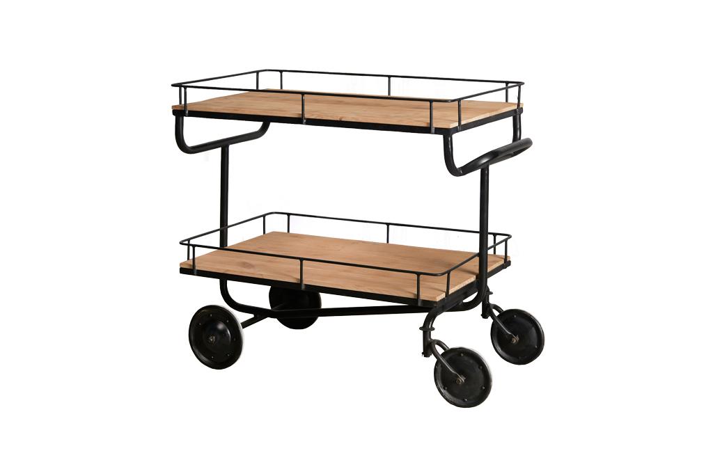 Industriële trolley met 2 houten legplanken - Metaal met hout - Art. A102Z