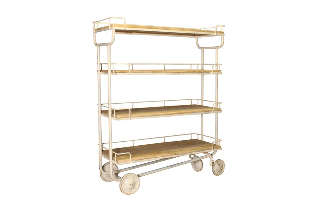 Industriële trolley met 4 houten legplanken - Metaal met hout - Art. A103W