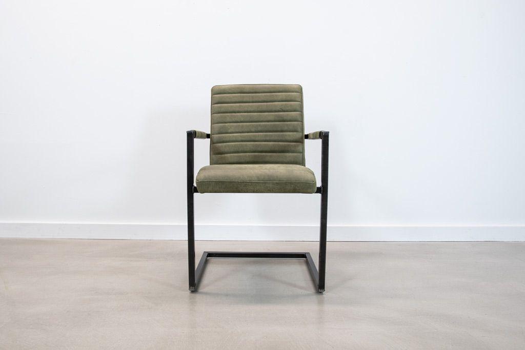 Industrie Freischwinger - Lederstuhl - Art. 55 - Olive