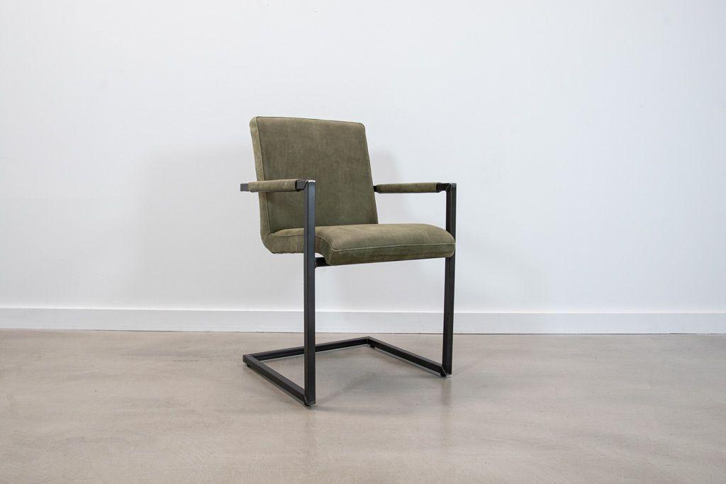 Industrie Freischwinger - Lederstuhl - Art. 59 - Olive