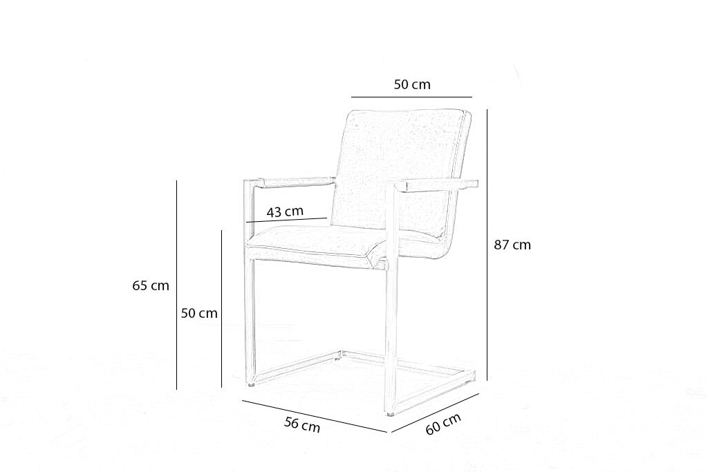 Industriële eetkamerstoel Soem | Hand gepoetst buffelleer | vierkant frame