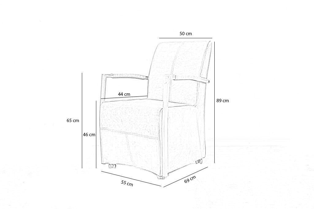 Industriële eetkamerstoel Zoë | Geschuurd leer | vierkant frame