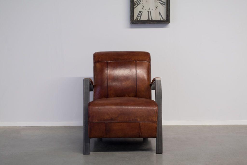 Industriële fauteuil Como | Hand gepoetst buffelleer