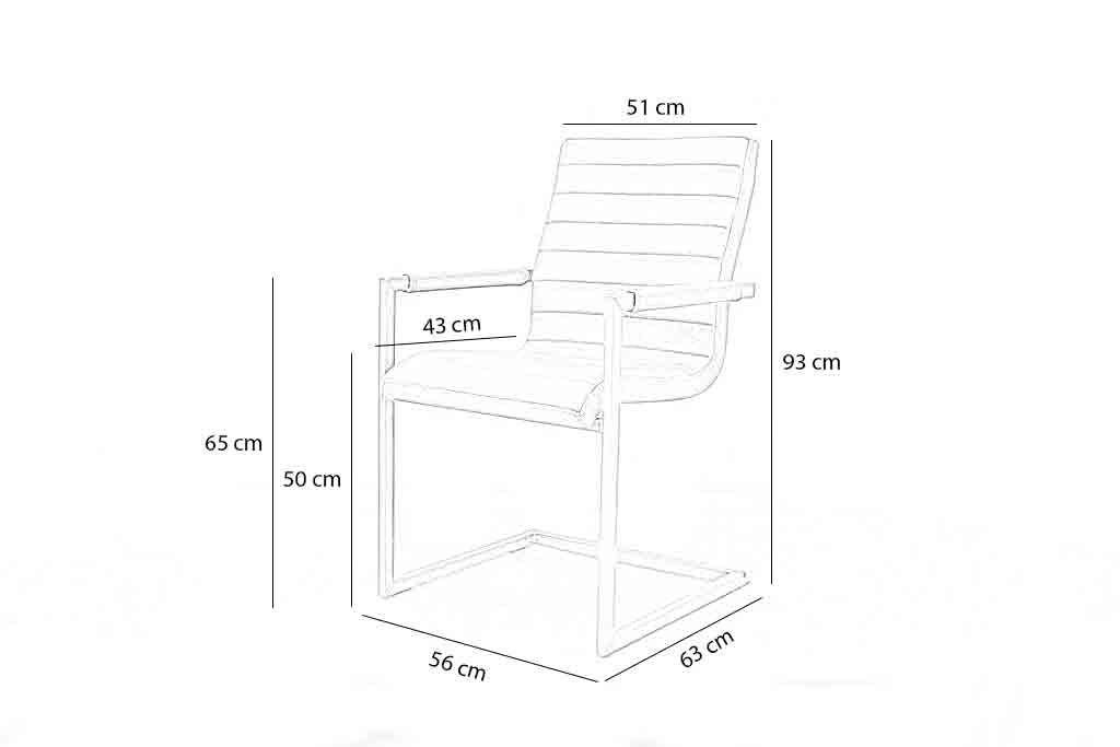 Industriële eetkamerstoel Wave | Geschuurd leer | vierkant frame