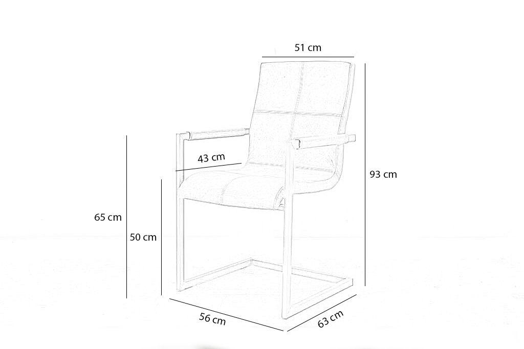 Industriële eetkamerstoel Quadrant | Hand gepoetst buffelleer | vierkant frame
