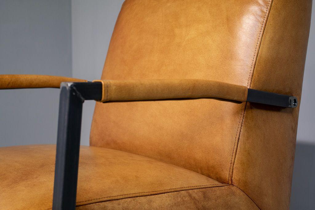 Amerikanischer Lehnstuhl Flash - Büffelleder Vintage - Eckige Metallgestell