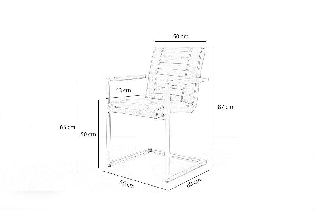 Industriële eetkamerstoel Melf | Geschuurd leer | vierkant frame