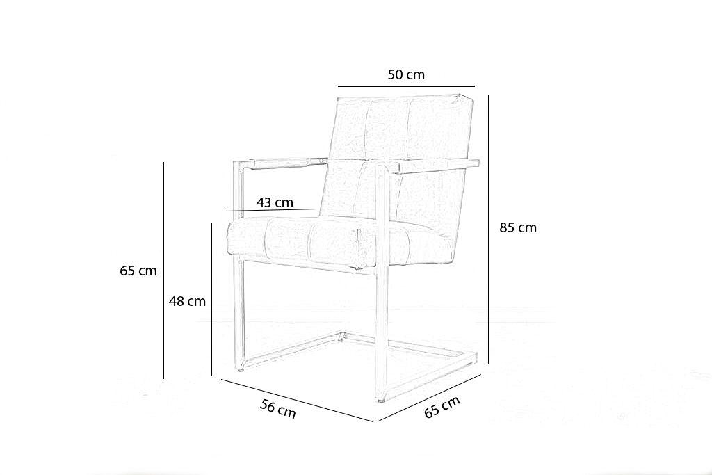 Industriële eetkamerstoel Olli   Hand gepoetst buffelleer   vierkant frame