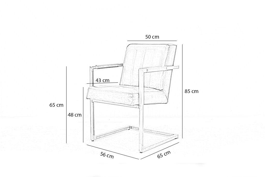 Industriële eetkamerstoel Brashov | Geschuurd leer | vierkant frame