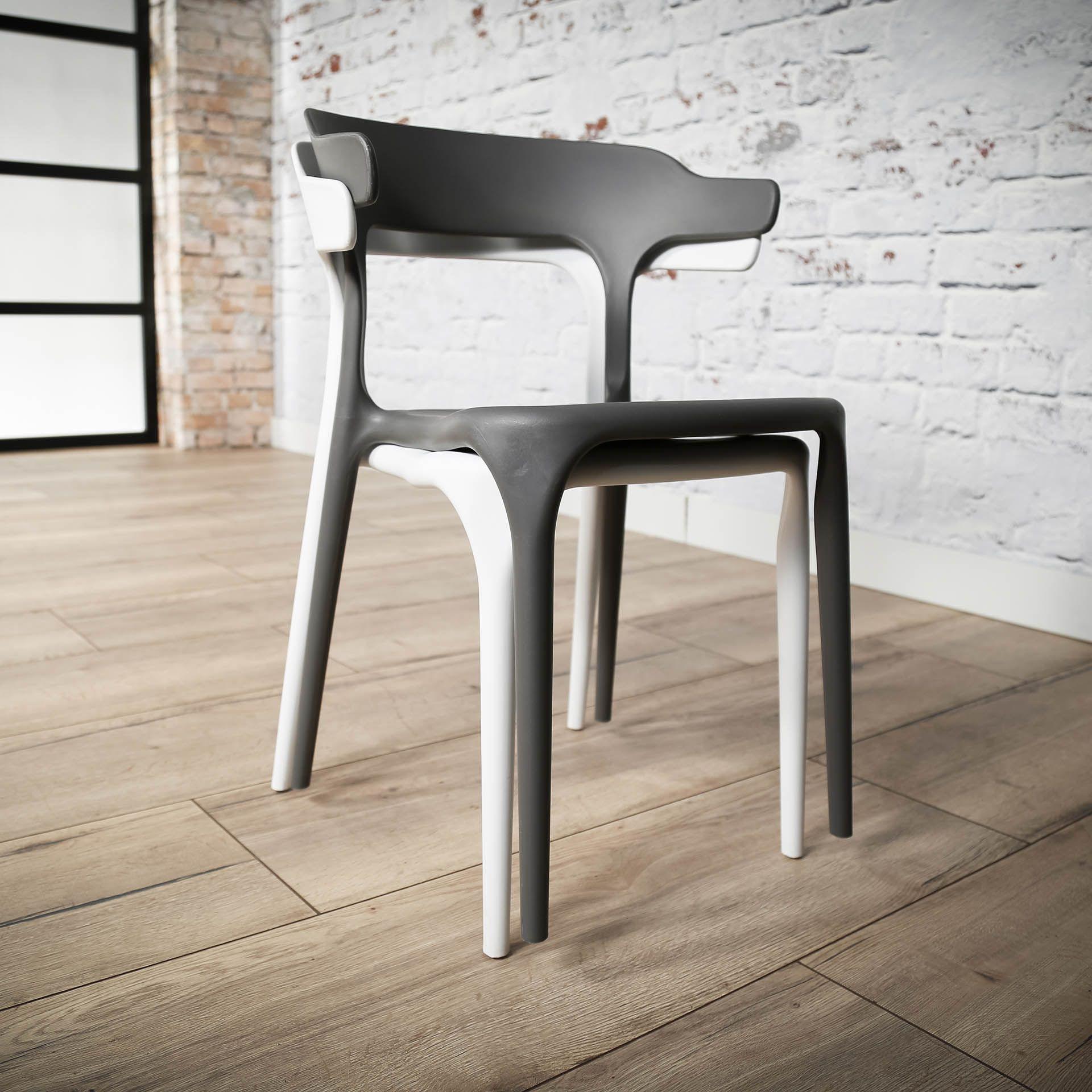 4x | Curved Stuhl Grau