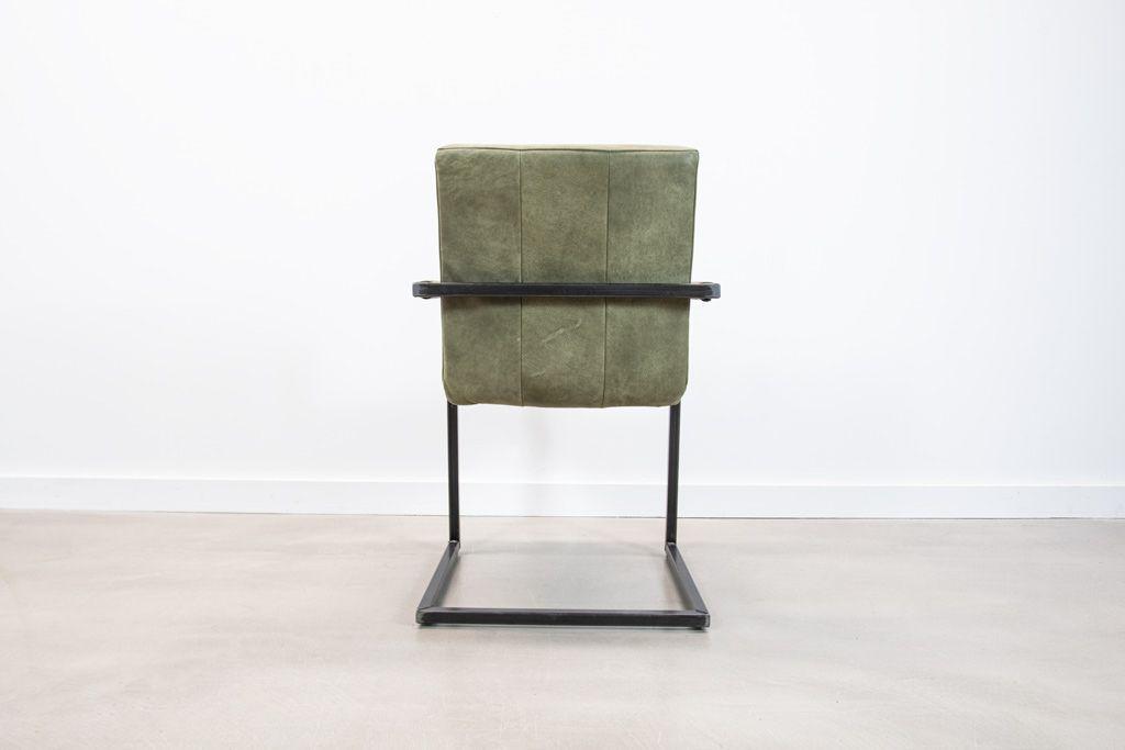 Industrie Freischwinger - Lederstuhl - Art. 399 - Olive