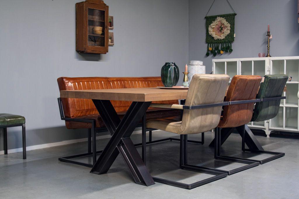 Industriële eetkamerbank Noll | Vintage Art | Vierkant frame